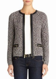 Cardigan with Zip Front and Faux Leather Trim