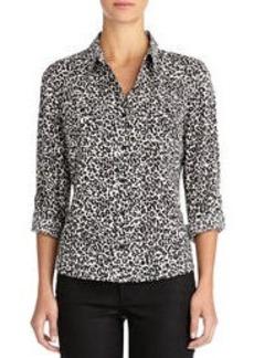 Cheetah Print Shirt with Roll Sleeves