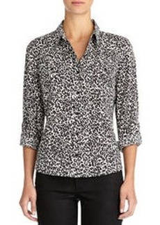 Cheetah Print Shirt with Roll Sleeves (Plus)