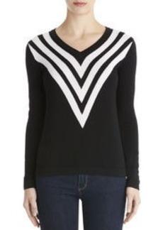 Chevron V-Neck Sweater (Petite)
