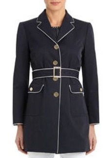 Coat with Long Sleeves and Flap Pockets