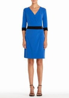 Cobalt Blue 3/4 Sleeve Faux Wrap Dress (Plus)
