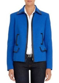 Cobalt Blue Jacket with Black Faux Leather Trim