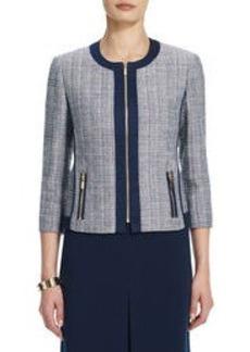 Collarless Tweed Jacket with Contrasting Trim