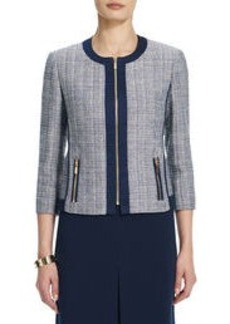 Collarless Tweed Jacket with Contrasting Trim