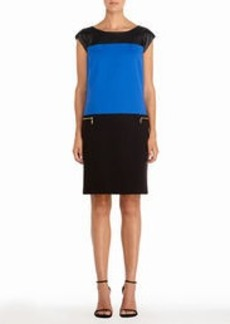 Color Block Dress in Black and Cobalt Blue (Petite)