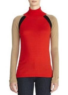 Color Block Turtleneck Sweater (Petite)