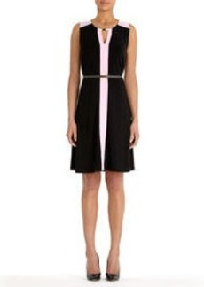 Colorblock Dress with Belt
