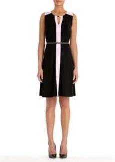 Colorblock Dress with Belt