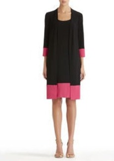 Colorblock Jacket Dress in Black and Pink (Plus)