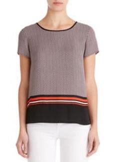 Colorblock Tee Shirt with Back Zip