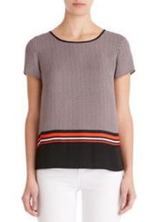 Colorblock Tee Shirt with Back Zip