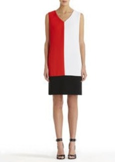Colorblock V-Neck Shift Dress
