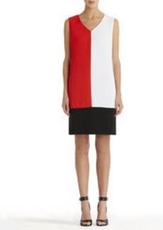 Colorblock V-Neck Shift Dress