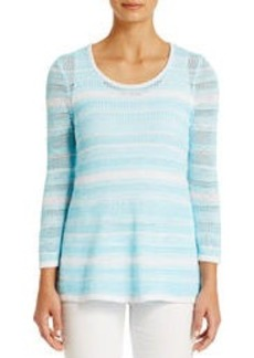 Cotton Scoop Neck Sweater with Draped Hem (Plus)