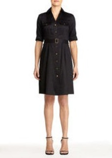 Cotton Shirt Dress with Belt (Plus)
