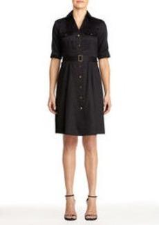 Cotton Shirt Dress with Belt (Plus)