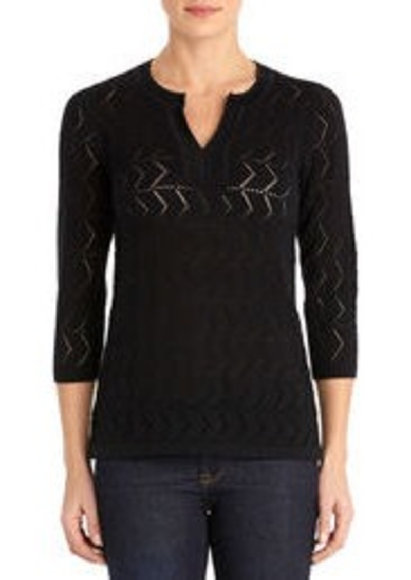 Cotton Split Neck Tunic with 3/4 Sleeves