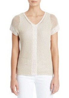 Cotton V-Neck Shirt with Cap Sleeves (Plus)