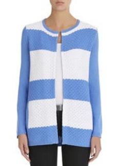Crew Neck Open Front Cardigan Sweater