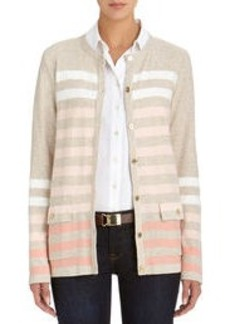 Crew Neck Stripe Cardigan Sweater