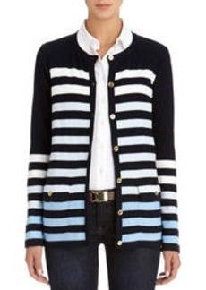 Crew Neck Stripe Cardigan Sweater (Plus)