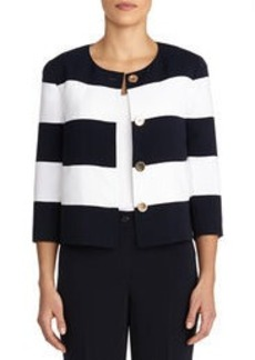 Crew Neck Striped Jacket