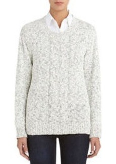 Crew Neck Sweater with Cable Knit Front