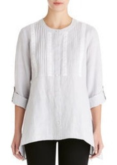 Crochet-Trimmed Shirt with Band Collar