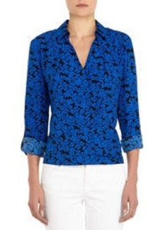 Cross-Front Blouse with Roll Sleeves