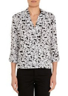 Cross-Front Blouse with Roll Sleeves (Plus)