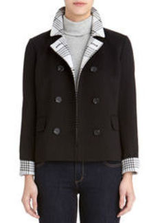 Double-Breasted Peacoat with Plaid Accents (Petite)