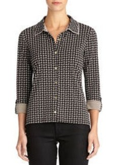Double Collar Blouse with 3/4 Sleeves