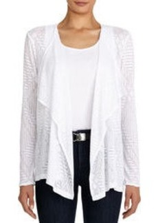 Drape Front Cardigan with Long Sleeves (Plus)