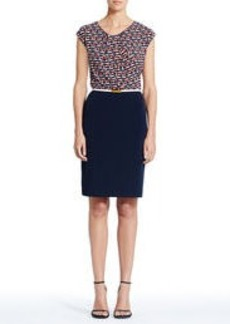 Dress with Print Top and Navy Blue Skirt