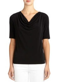 Elbow Length Drape-Neck Blouse (Plus)
