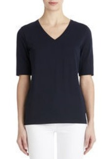 Elbow Length V-Neck Top (Plus)
