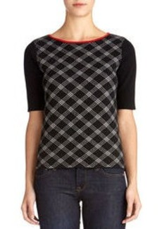 Elbow Sleeve Boat Neck Pullover