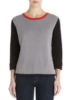 Elbow Sleeve Crew Neck Pullover
