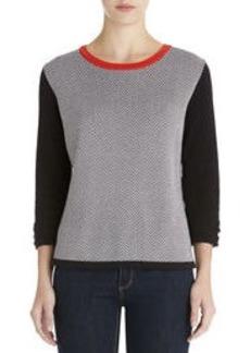 Elbow Sleeve Crew Neck Pullover (Plus)
