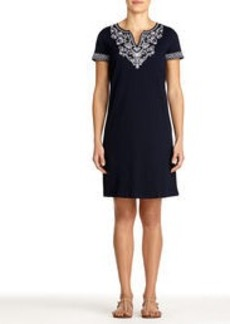 Embellished Cotton Jersey Dress with Split Neck (Plus)