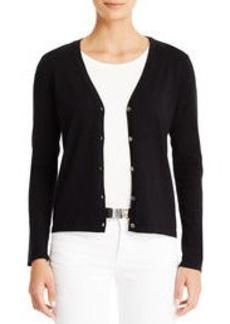 Essential Silk-Knit V-Neck Cardigan