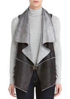 Faux Leather Asymmetrical Vest (Plus)