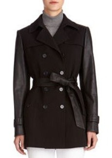 Faux Leather Belted Trench Coat