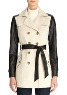 Faux Leather Belted Trench Coat (Plus)