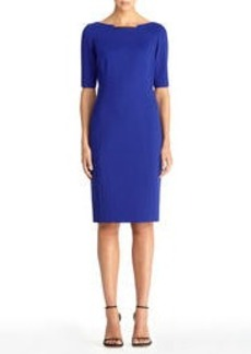 Faux Leather Sheath Dress with Boat Neck
