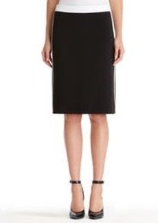 Faux Leather Trimmed A-Line Skirt