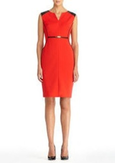 Faux Leather Trimmed Sheath Dress