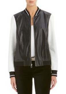 Faux Leather Varsity Jacket (Petite)