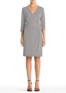 Faux Wrap Dress with Elbow Cuffs